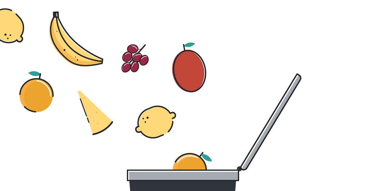 La ilustración de piezas de fruta y verdura que están cayendo en un cubo de basura
