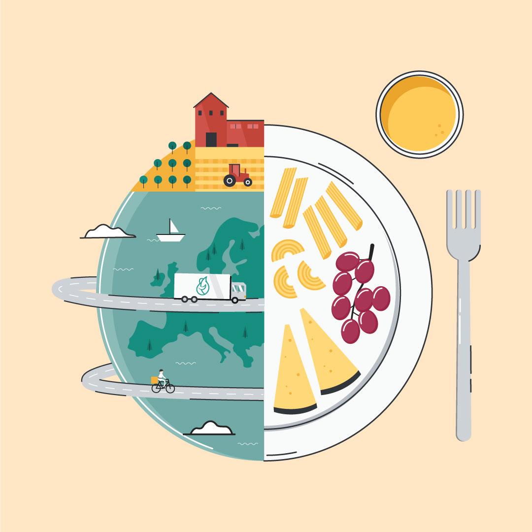 La ilustración de un plato partido con el planeta y con los alimentos, acompañado por un vaso y un tenedor