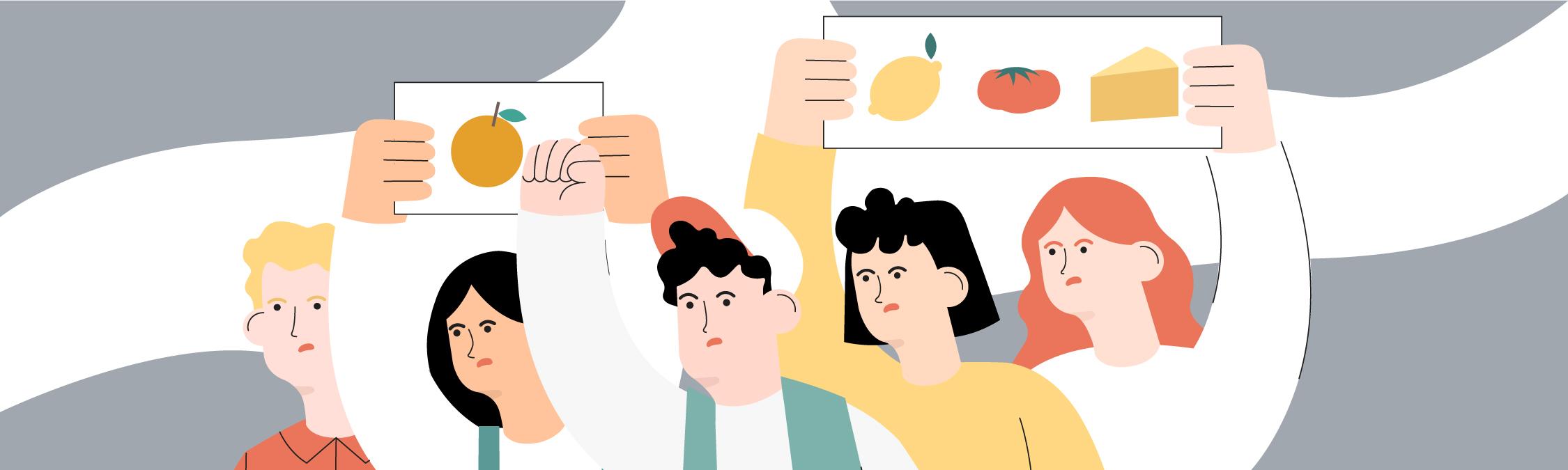 La ilustración de los agricultores protestando