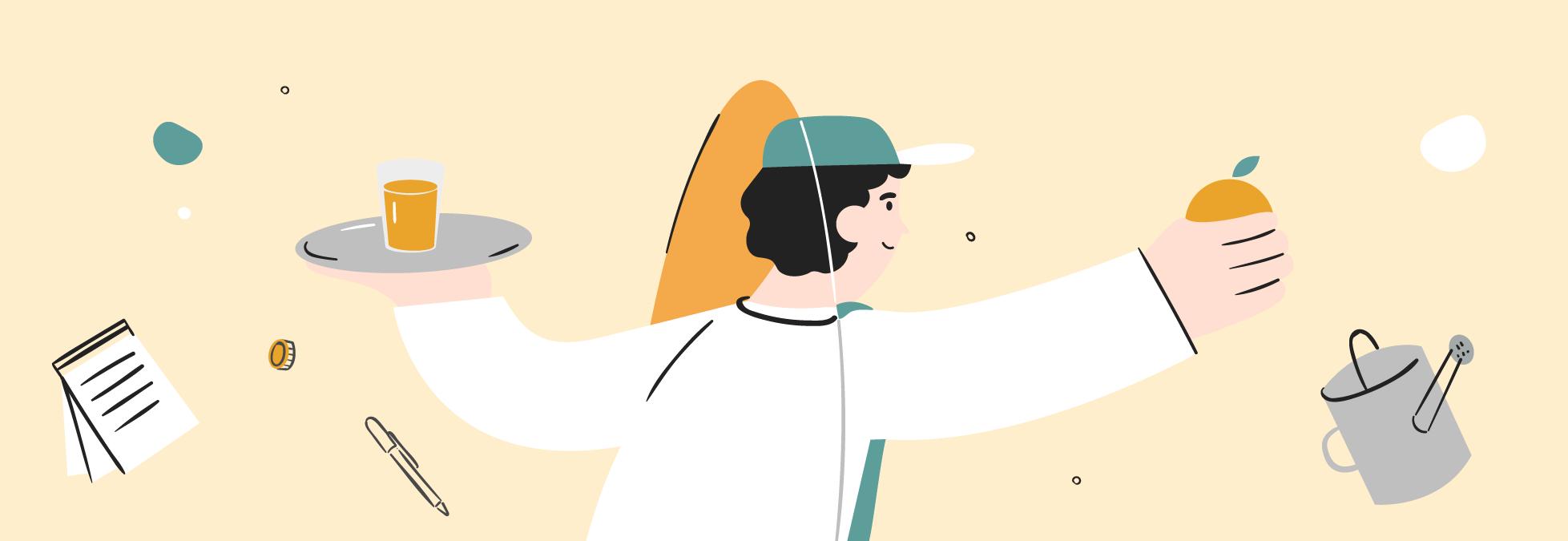La ilustración de un camarero con la bandeja en la mano y de un agricultor con la naranja en la mano
