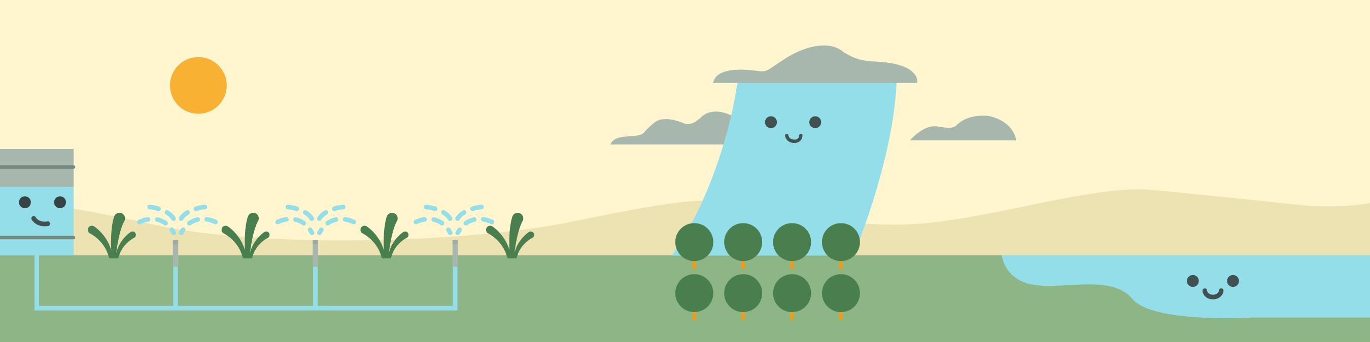 La ilustración de una nube de agua cayendo sobre un campo de cultivo
