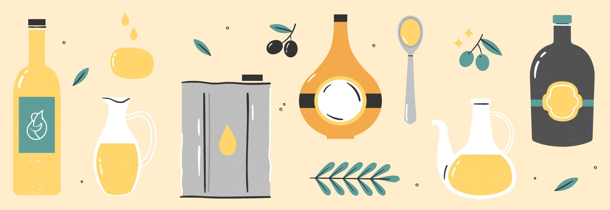 La ilustración de botellas y latas de aceite de oliva virgen extra