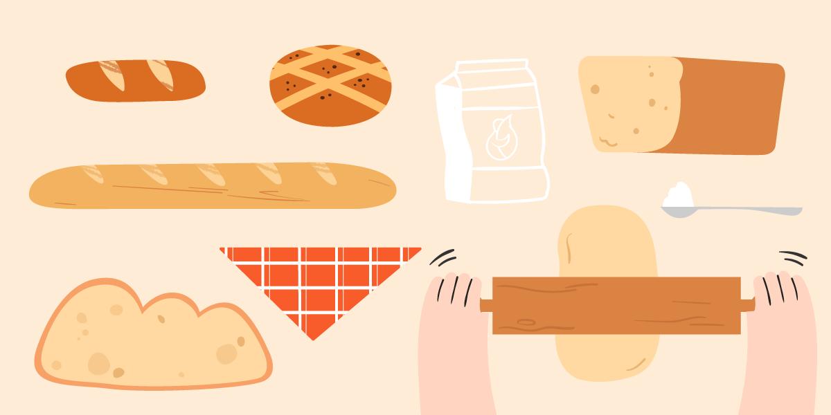 Ilustración de diferentes tipos de pan con una bolsa de harina