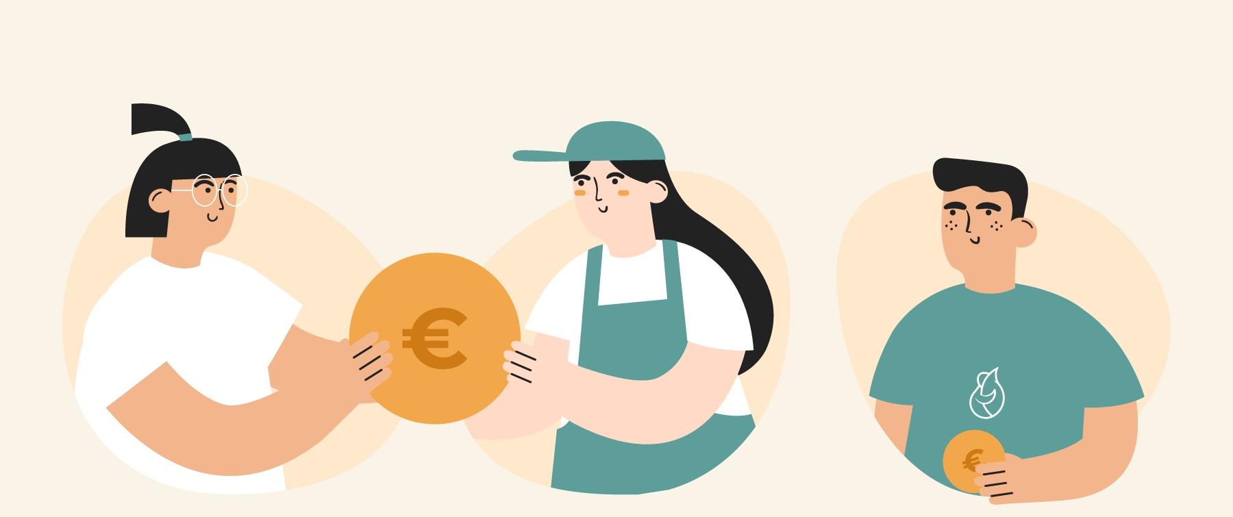 Ilustración de tres personas (consumidor y agricultor) con una moneda en la mano