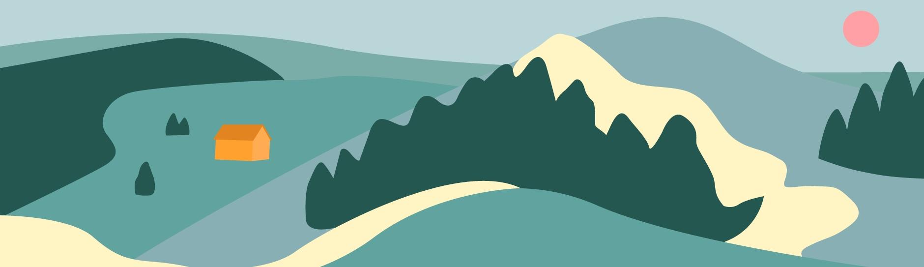 Ilustración de una montaña con una pequeña casa