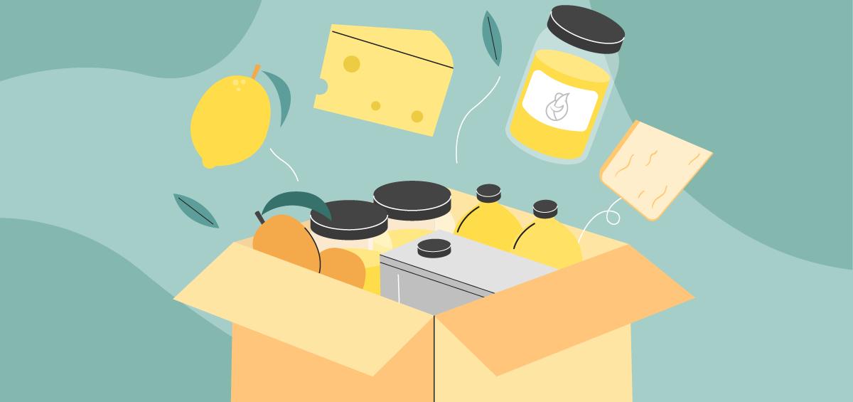 Ilustración de una caja de cartón con aceite, queso, limón, miel y mangos