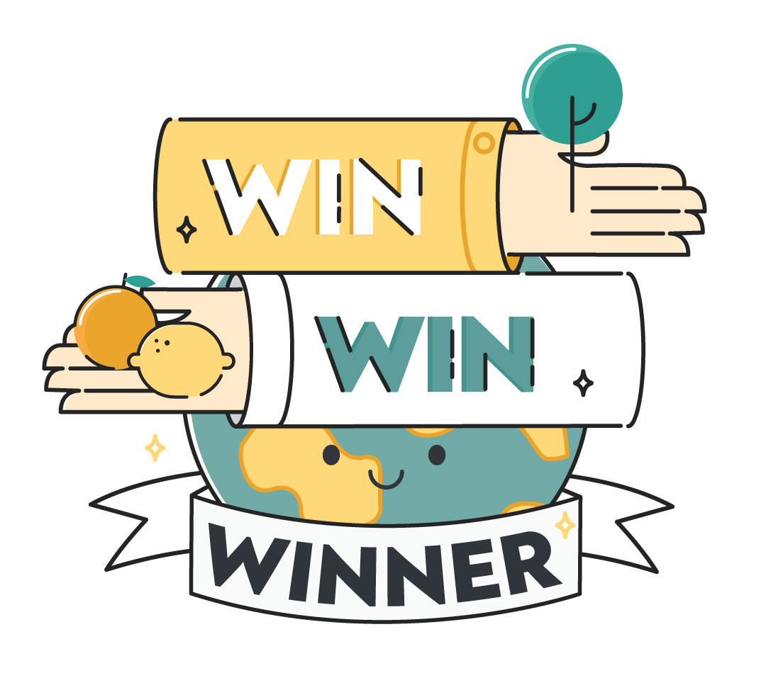 Illustration of CrowdFarming's Win-Win-Winner concept