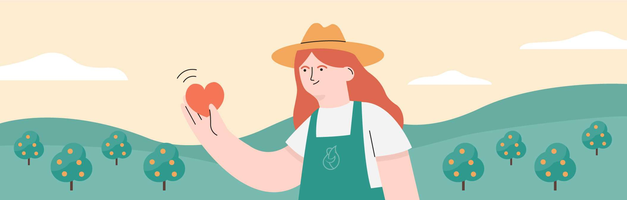 Illustration of a farmer with a heart in her hand