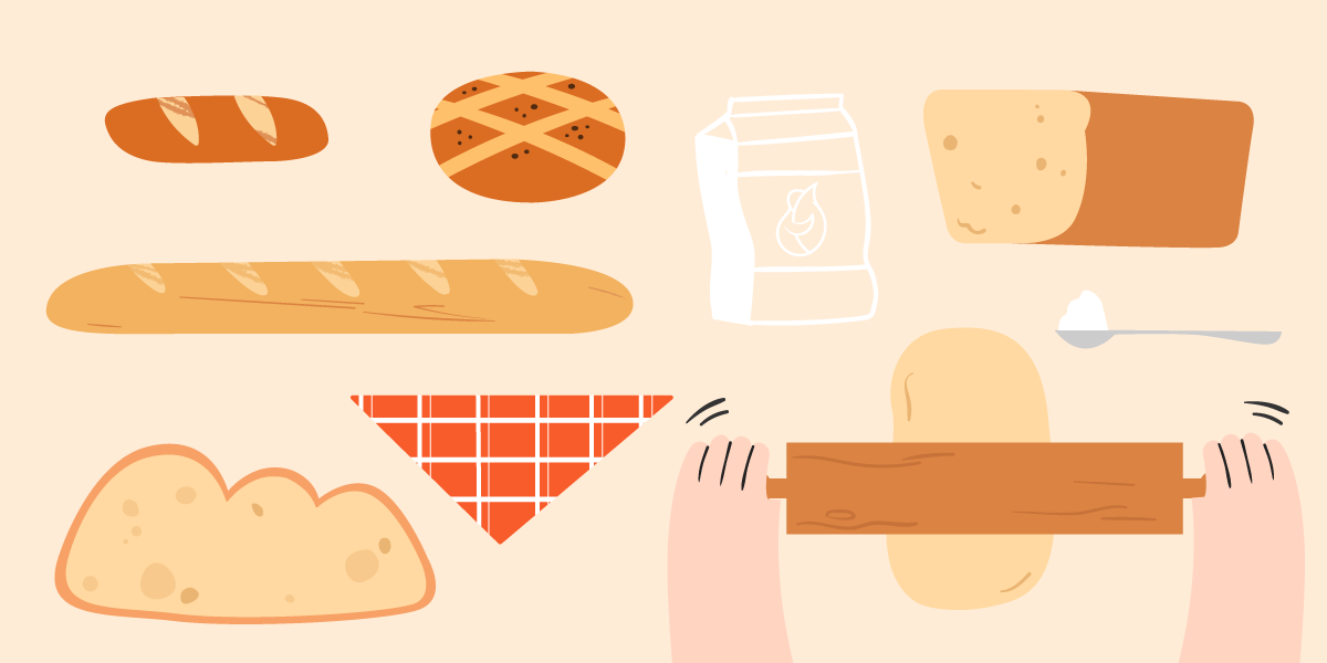 Illustration of different types of bread and a bag of flour