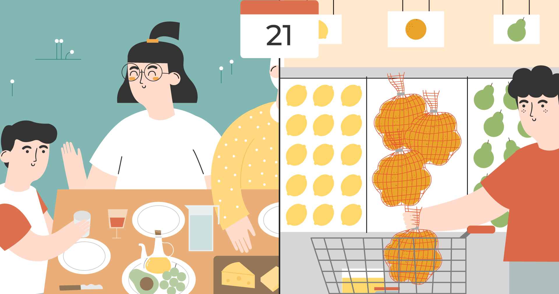 Illustration of a family eating organic oranges and a person at the supermarket buying netted oranges