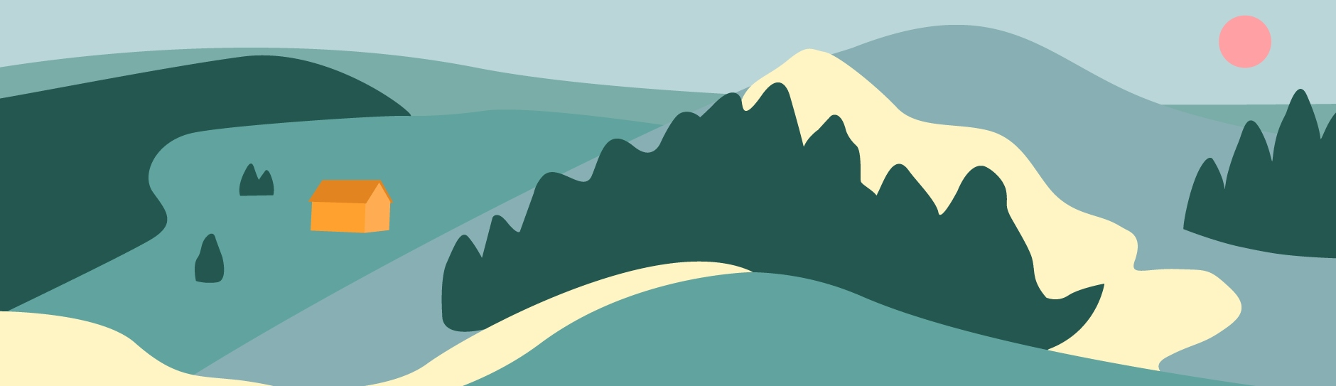 Illustration of a mountain with a small house