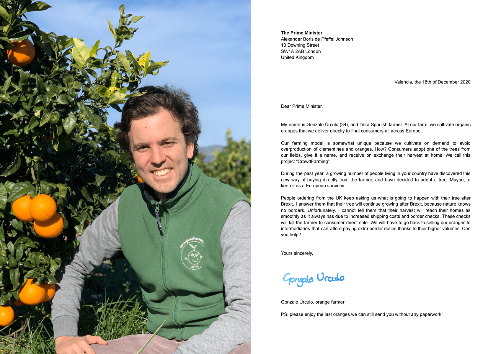 The farmer Gonzalo Úrculo in a field of orange trees and a letter to the British Prime Minister