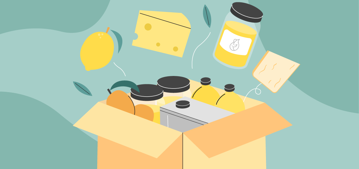 Illustration of a cardboard box with oil, cheese, lemon, honey and mangoes