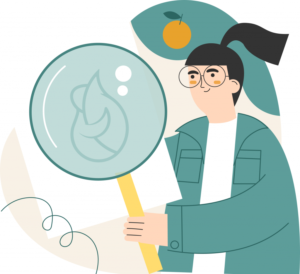 Illustration of a woman with a magnifying glass and an orange