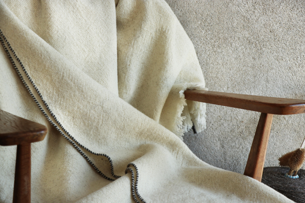 A throw made of sheep's wool