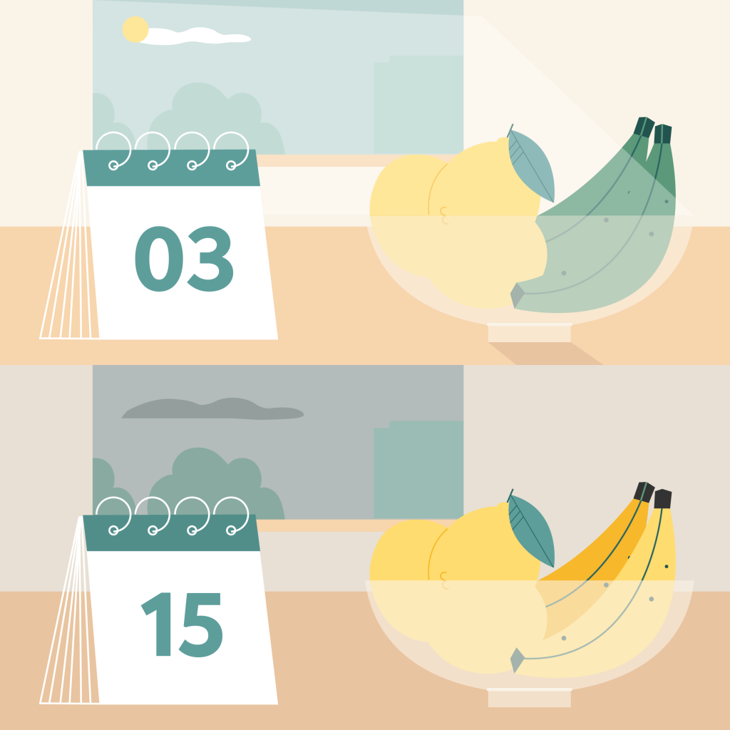 Illustration of a jar with lemons and bananas and a calendar