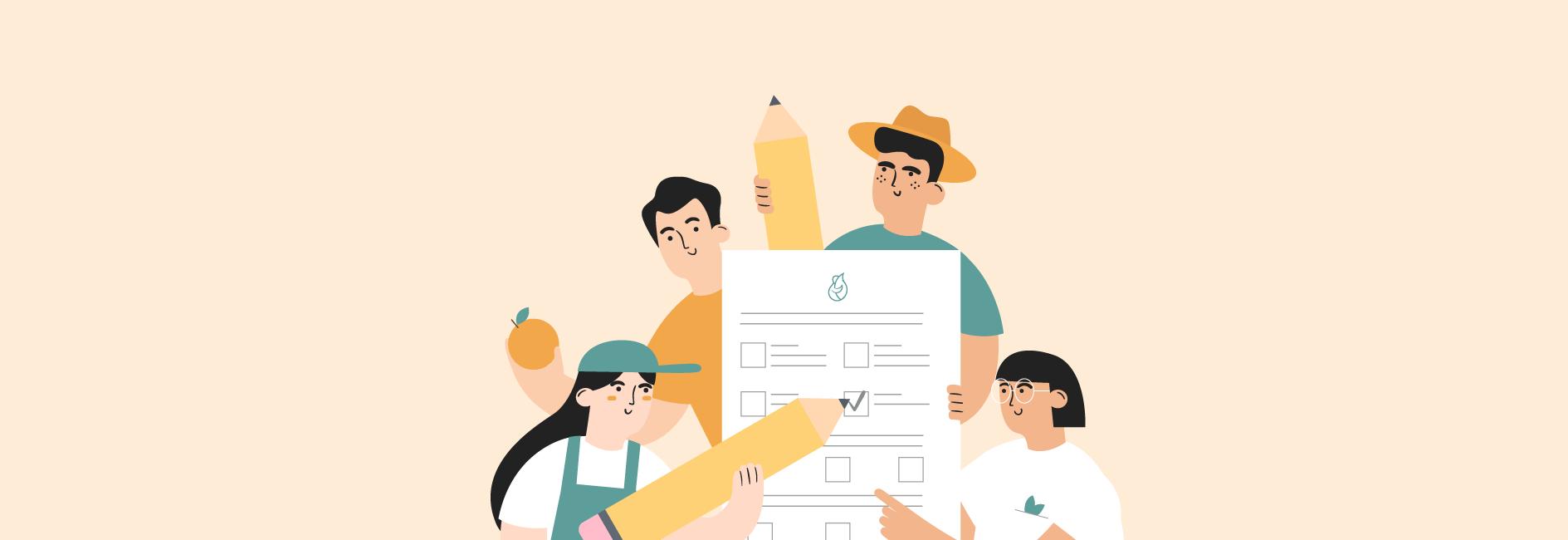 Illustrations d'agriculteurs qui répondent à l'enquête sur l'impact de la vente directe