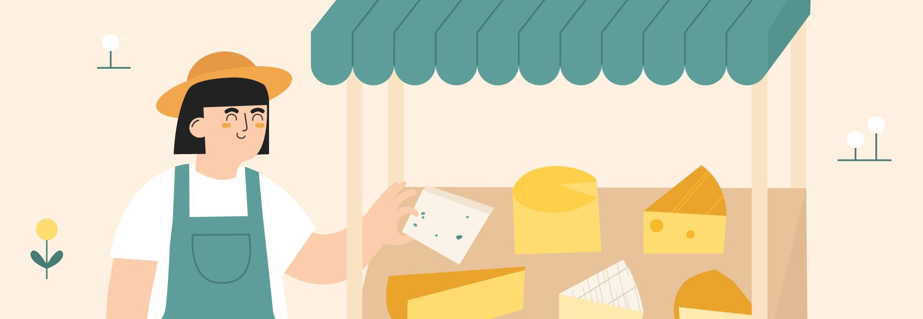 Illustration d'un agriculteur avec une roulotte de fromages et une vache