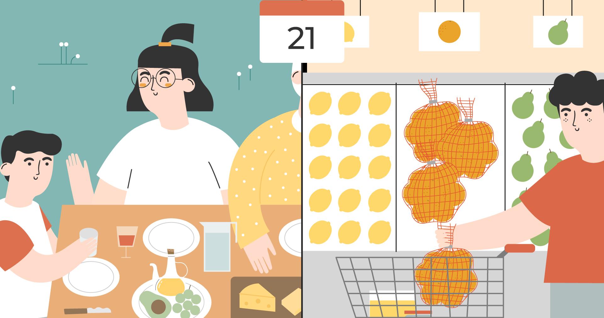 Illustration einer Familie, die Bio-Orangen isst, und einer Person im Supermarkt, die ein Netz mit Orangen kauft.