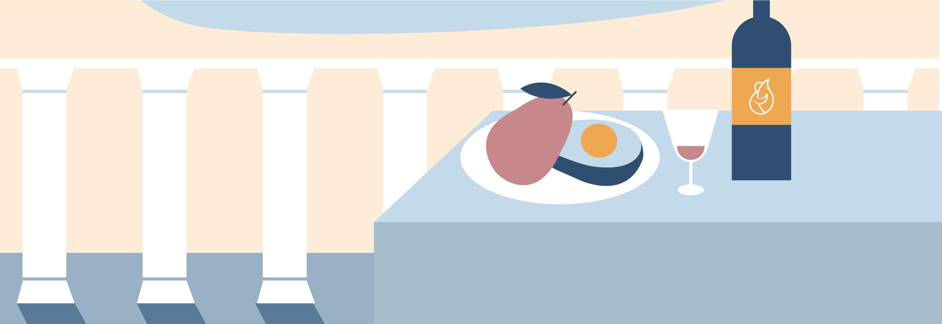 Eine Avocado und eine Mango auf einem Teller mit einer Flasche Wein und einem Glas und dem Mittelmeer.